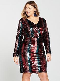 v-by-very-curve-stripe-sequin-dress-multi