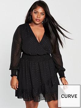 v-by-very-curve-lurex-dobbynbsppolka-dot-ruffle-dress-black