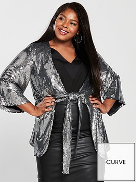 v-by-very-curve-sequin-knot-front-kaftan-silver