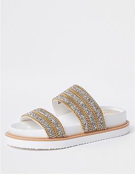 river-island-river-island-chain-embellished-sliders--white