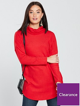 v-by-very-rib-slouchy-cowl-neck-longline-top-red
