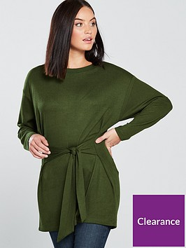 v-by-very-knot-front-longline-top-khaki