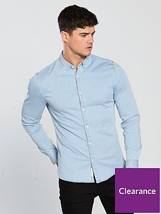 river-island-long-sleeve-muscle-light-blue-denim-shirt