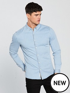 river-island-long-sleeve-muscle-light-blue-denim-shirt