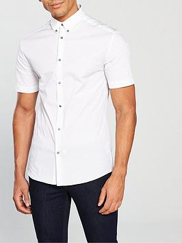 River Island River Island White Short Sleeve Muscle Shirt Picture