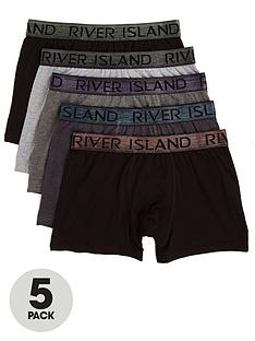 river-island-big-and-tall-5pk-metallic-waistband-trunks