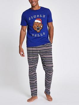river-island-blue-jingle-bells-tiger-print-pyjamas