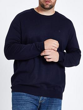 river-island-big-and-tall-ash-jumper-crew