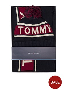 tommy-hilfiger-logo-scarf-and-beanie-set