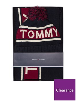 tommy-hilfiger-logo-scarf-and-beanie-set