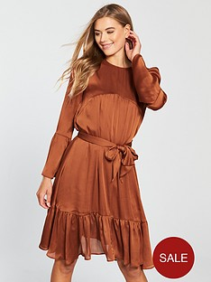 V by Very Tie Front Dress - Rust 1789e7359