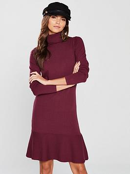 v-by-very-roll-neck-long-sleeve-fit-and-flare-knitted-dress-merlot