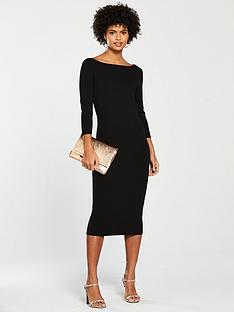 v-by-very-boat-neck-knitted-dress-black