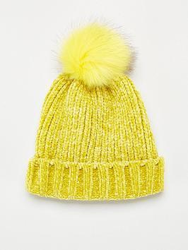 v-by-very-rebeka-chenille-pom-pom-beanie-yellow