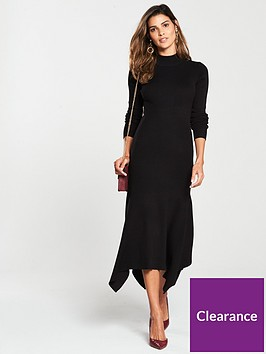 v-by-very-skinny-rib-high-neck-knitted-midi-dress-black