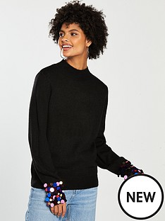 v-by-very-sequin-cuff-blouson-sleeve-jumper