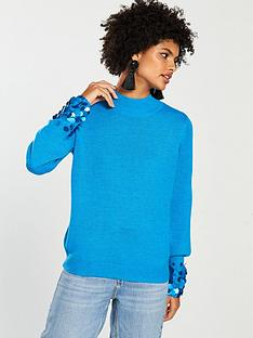 v-by-very-sequin-cuff-blouson-sleeve-jumper-teal