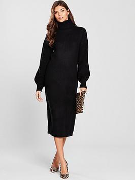 v-by-very-cowl-neck-blouson-sleeve-knitted-midi-dress-black