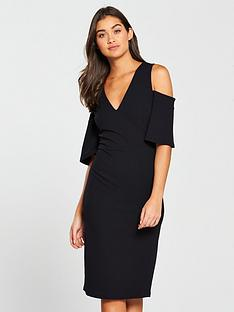 v-by-very-cold-shoulder-v-neck-bodycon-dress-black