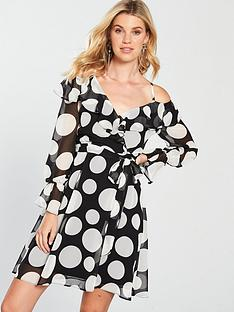 v-by-very-polka-dot-cold-shoulder-dress-monochrome