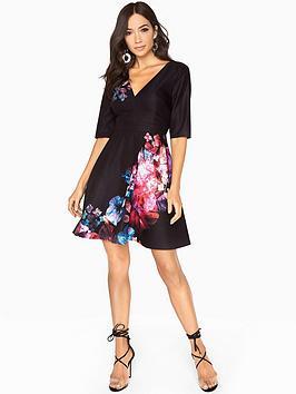 little-mistress-floral-placement-skater-dress-black