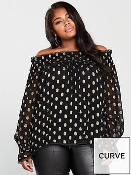 v-by-very-curve-metallic-spot-bardot-blouse-black