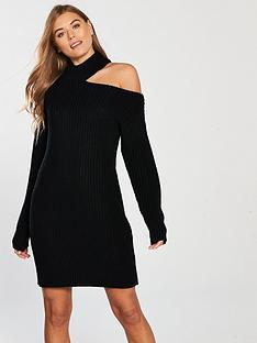 v-by-very-roll-neck-deconstructed-collar-knit-dress-black