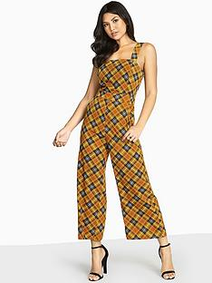 girls-on-film-check-printed-jumpsuit-with-wide-straps-mustard