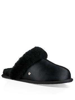 ugg-scuffette-ii-satin-mule-slipper-black