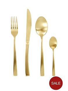 ideal-home-matt-gold-16-piece-cutlery-set