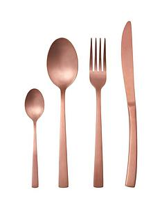 ideal-home-matt-rose-gold-16-piece-cutlery-set