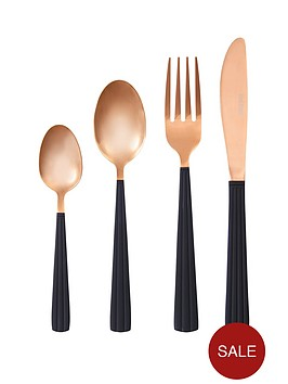 ideal-home-rose-gold-with-black-handle-16-piece-cutlery-set