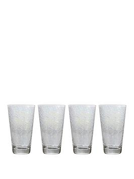 Very Set Of 4 Iridescent High Ball Glasses Picture