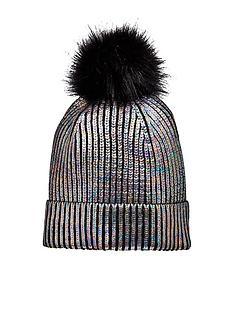 v-by-very-older-girls-metallic-pom-pom-hat-black-multi
