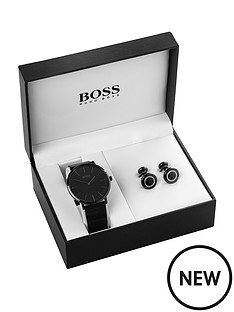 hugo-boss-black-black-dial-black-mesh-stainless-steel-strap-mens-watch-and-cufflink-gift-set