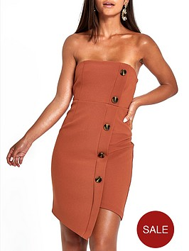 ri-petite-button-through-bodycon-midi-dress-rust