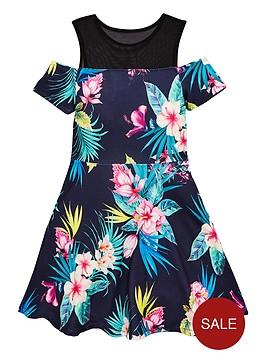 v-by-very-girls-mesh-cold-shoulder-floral-dress