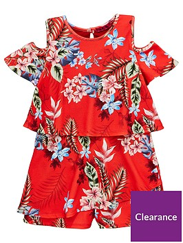 v-by-very-girls-cold-shoulder-floral-playsuitnbsp--red