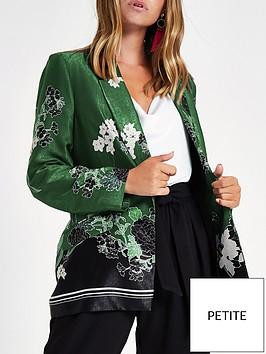 ri-petite-floral-print-blazer-green