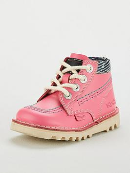 kickers girls kick hi boot - pink