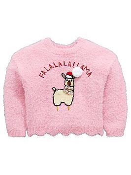 mini-v-by-very-girls-llama-sequin-pom-pom-christmas-jumper