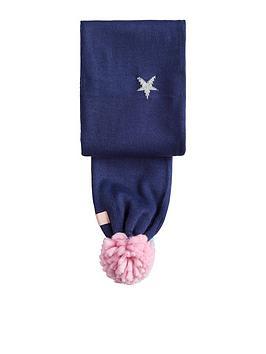 joules-girls-star-pom-pom-scarf-navy