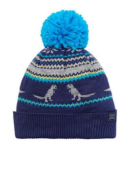 joules-boys-dino-fair-isle-knitted-hat-blue