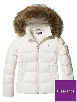 d8422176d Tommy Hilfiger Girls Padded Down Jacket - White | littlewoods.com
