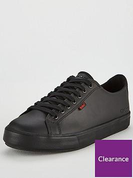 kickers-tovni-leather-lace-up-plimsolls-black