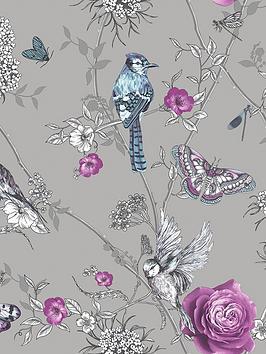 ARTHOUSE Arthouse Paradise Garden Silver Wallpaper Picture