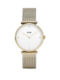 cluse-cluse-triomphe-white-and-gold-dial-two-tone-mesh-stainless-steel-strap-ladies-watch