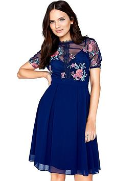 little-mistress-floral-mesh-top-skater-dress-navy