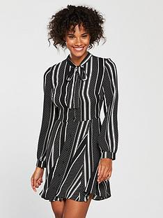 v-by-very-spot-and-stripe-shirt-dress-monochrome