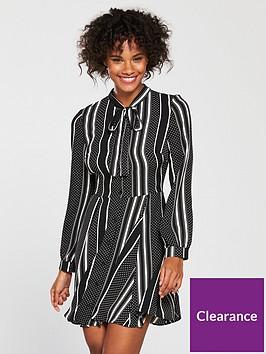v-by-very-spot-and-stripe-shirt-dress-monochrome